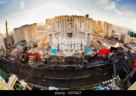 Morning View of Las Vegas Boulevard with resort casinos in view from Las Vegas Nevada - Stock Photo