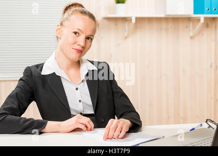 ... Handsome Accountant In A Jacket At Office Working   Stock Photo