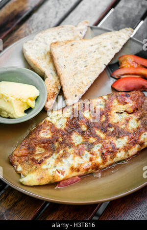 omelet omelette with toast s mealimple breakfast set - Stock Photo