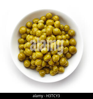 Bowl of canned green peas isolated on white background, top view - Stock Photo