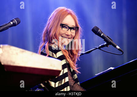BARCELONA - MAY 30: Tori Amos (singer, songwriter, pianist and composer) performs at Primavera Sound 2015. - Stock Photo