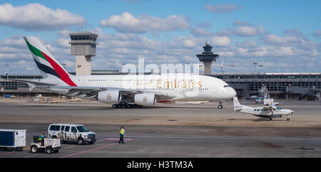 DULLES INTERNATIONAL AIRPORT, VIRGINIA, USA - Emirates Airline Airbus A380-800 commercial passenger jet airliner - Stock Photo