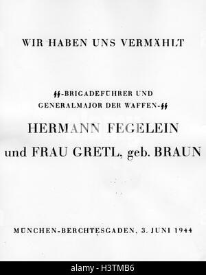 Hermann Fegelein 1906 1945 Order Of Reception After His Wedding To