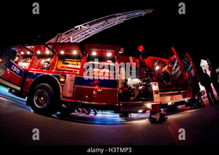 Jackson Fire Department Wisconsin ladder truck on display for Fire Prevention Week - Stock Photo