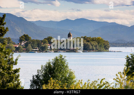 View of the Fraueninsel, Gstadt, Chiemsee, Bavaria, Germany - Stock Photo