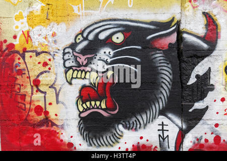 Panther with mouth open, graffiti, street art, Duisburg, North Rhine-Westphalia, Germany - Stock Photo
