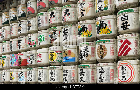 Sake Barrels at Meiji Jingu Shrine, Tokyo, Japan - Stock Photo