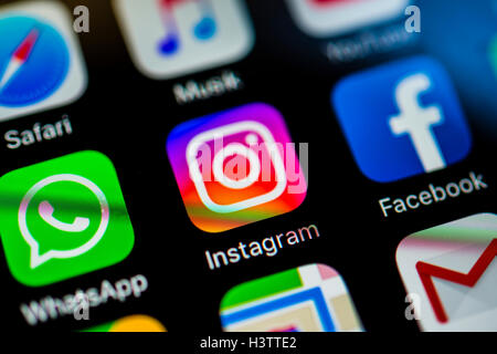 Smartphone screen with WhatsApp, Instagram and Facebook app icons in detail - Stock Photo