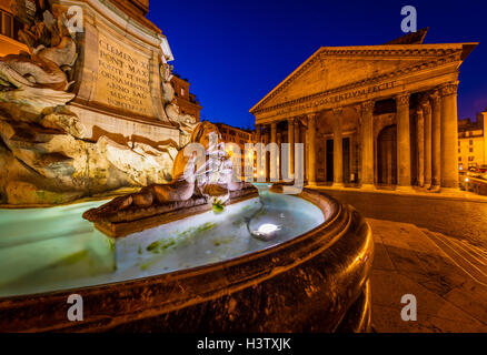 The Fontana del Pantheon fountain in front of the Pantheon in Rome, Italy. - Stock Photo