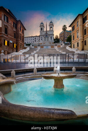 The Spanish Steps are a set of steps in Rome, Italy - Stock Photo