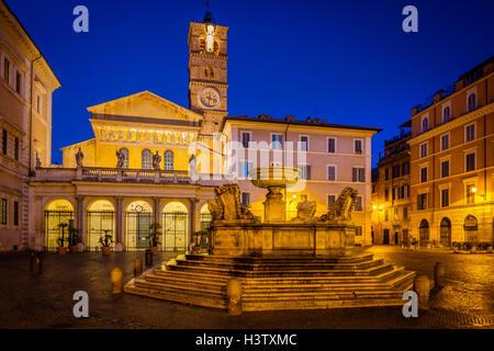 Piazza di Santa Maria and Basilica di Santa Maria in the Trastevere part of Rome, Italy - Stock Photo