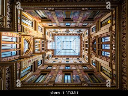 Interior courtyard of galleria in Rome, Italy - Stock Photo