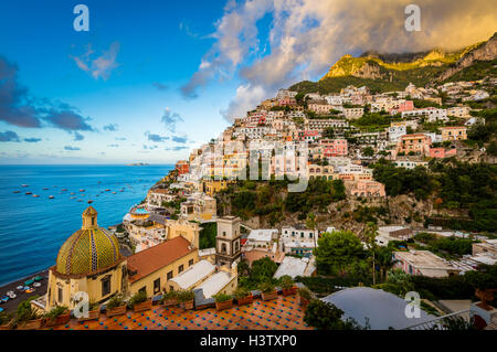 Positano is a village and comune on the Amalfi Coast (Costiera Amalfitana), in Campania, Italy - Stock Photo