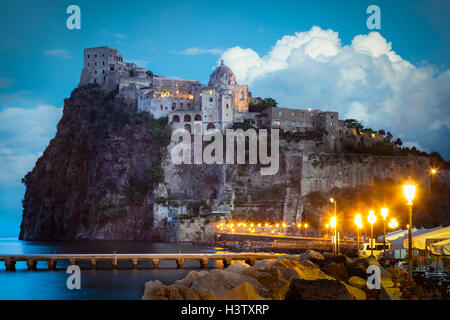 Castello Aragonese is a medieval castle next to Ischia (one of the Phlegraean Islands) - Stock Photo