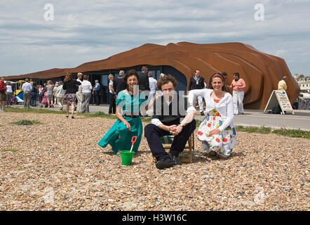 Jane Wood, Thomas Heatherwick and Sophie Murray during the formal opening of the Littlehampton East Beach Cafe on - Stock Photo