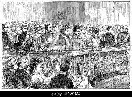 Thanksgiving service in 1871 for the recovery of the Prince of Wales from typhoid in St Paul's Cathedral, London, - Stock Photo