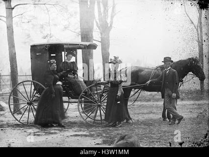 1890s WOMAN SITTING IN HORSE DRAWN CARRIAGE TWO WOMEN AND ONE MAN STANDING BY CARRIAGE - Stock Photo