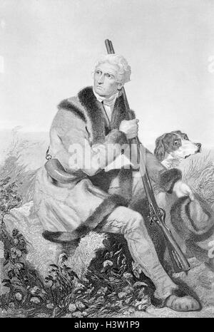 1810s SENIOR DANIEL BOONE HUNTING IN MISSOURI WEARING FUR TRIMMED JACKET FLINTLOCK RIFLE AND DOG AT HIS SIDE CHAPPEL - Stock Photo