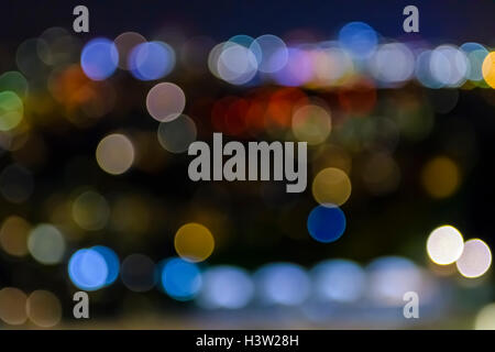 city lights; blurred bokeh; background; colorful - Stock Photo