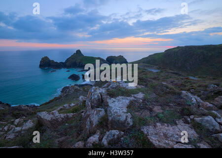 Sundown over Kynance Cove on the Lizard Coast - Stock Photo