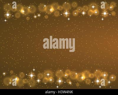 Frame with stars on the dark background, sparkles golden symbols - star glitter, stellar flare - Stock Photo