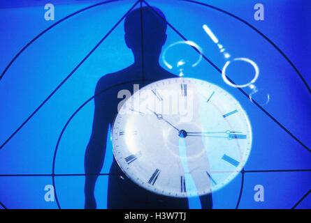 Composing, silhouette, man, clock, icon, 'body clock', medicine, health, biorhythm, bio-clock, Biorythmus, bioclock, - Stock Photo