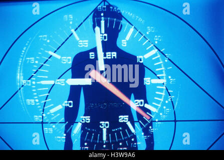 Composing, silhouette, man, clock, icon 'body clock', medicine, health, biorhythm, bio-clock, Biorythmus, bioclock, - Stock Photo