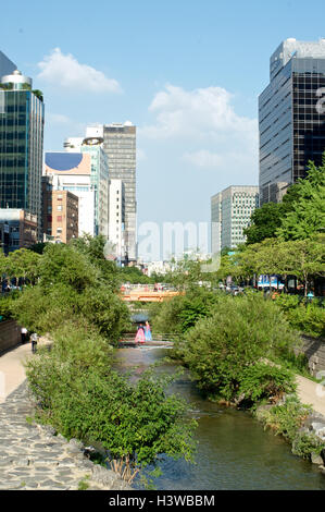 Cheonggyecheon stream in Seoul, South Korea in summer - Stock Photo