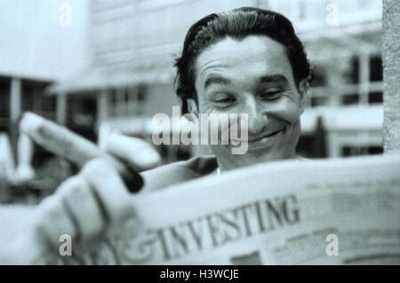 Man, cigar, newspaper, read, facial play, joy, portrait, b/w, outside, financial newspaper, business, market prices, - Stock Photo