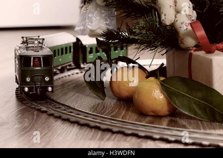 train retro toned model on floor - Stock Photo