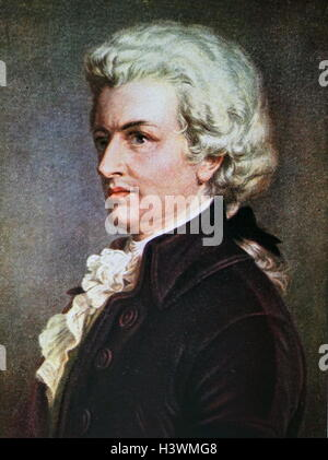 Portrait of Wolfgang Amadeus Mozart (1756-1791) an Austrian composer of the classical era, at his piano. Dated 18th - Stock Photo
