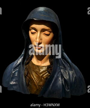 Bust of the Virgin of Sorrows by José de Mora (1642-1724) a Spanish sculptor. Dated 17th Century - Stock Photo