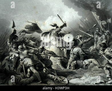 Engraving depicting a scene from the Battle of Caen during the Hundred Years' War. Dated 14th Century