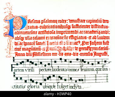Page from the Mainz Psalter by Johann Fust (1400-1466) and Peter Schöffer (1425-1503) German printers. Dated 15th - Stock Photo