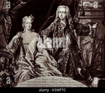 Portrait of William IV, Prince of Orange and Anne, Princess Royal and Princess of Orange - Stock Photo