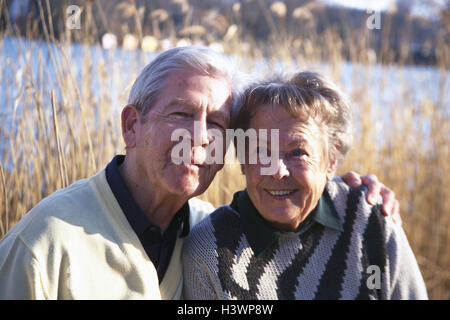 Lakeside, reed, Senior couple, falls in love, portrait, 70-80 years, happy, love, affection, partnership, smile, - Stock Photo