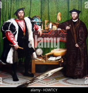 The Ambassadors (1533) painting, by Hans Holbein the Younger. - Stock Photo