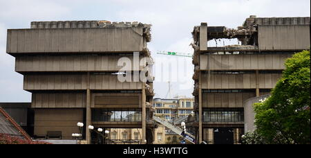 Example of Brutalist architecture being demolished. Dated 21st Century - Stock Photo