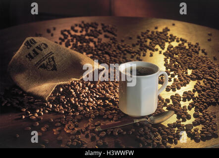 Cup, coffee, coffee beans, Still life, beans, luxuries, caffeine, drink, hotly, alcohol-free, coffee cup, spoon, - Stock Photo