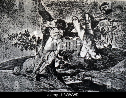 The Disasters of War, by Francisco Goya (1746- 1828) a Spanish romantic painter and printmaker. Dated 19th Century - Stock Photo