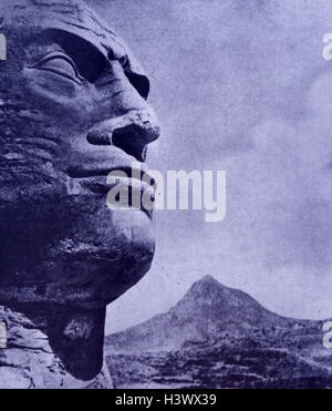 Italian propaganda depicting Benito Mussolini's head on the Lion of Ethiopia during the fall of Abyssinia. Dated - Stock Photo