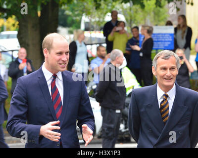The Duke of Cambridge met by Lord Lieutenant of Hampshire on an official visit to a Step into Health programme at - Stock Photo