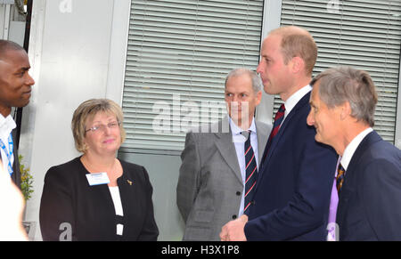 The Duke of Cambridge with the Lord Lieutenant of Hampshire (right) on an official visit to a Step into Health programme - Stock Photo