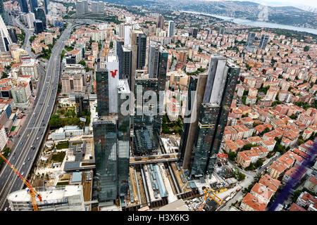 Istanbul, Turkey - May 1, 2016 : Mecidiyekoy Istanbul from air - Stock Photo