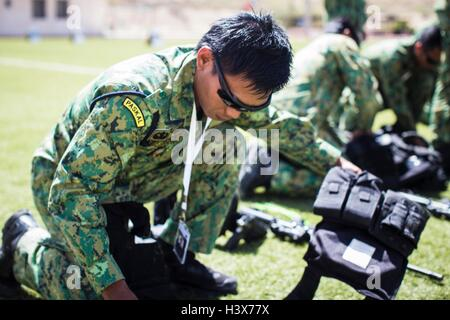 Amman, Amman, Jordan. 19th Apr, 2015. The Brunei team prepares for the ''Top Gun, '' first challenge of the seventh - Stock Photo