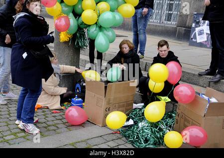 Copenhagen, Denmark. 13th Oct, 2016. Student protest rally preparations in in Copenhagen. Credit:  Francis Joseph - Stock Photo
