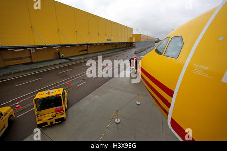 schkeuditz germany aircraft at dhl air freight hub at leipzig halle stock photo royalty free. Black Bedroom Furniture Sets. Home Design Ideas