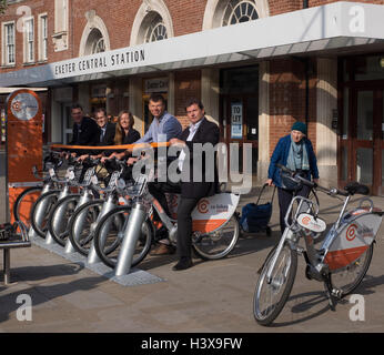 Exeter UK 13 Oct 2016 central station. Launch of co bikes first community electric bike scheme in UK Credit:  Anthony - Stock Photo