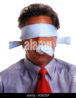 Businessman, toggle, blindfold, 'nothing say', hear 'nothing', 'nothing see to speak', portrait, Men, man, cloth, - Stock Photo