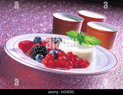 Dessert, Panna cotta, currants, blackberries, raspberries, bilberries, Italy, food, eat, food, food, dessert, sweet, - Stock Photo